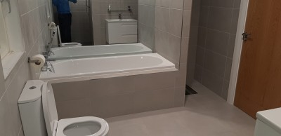 Bath  and shower room and tiling in a  Cavan home - supplied and installed by North West Tiles & Timber, Ireland